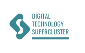 teal logo with the words digital technology supercluster